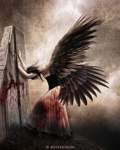 "Exhausted exasperated how she bears the weight of her wings upon her siloutte and heart...  ""The Fallen Angel"" by Mysterykids."
