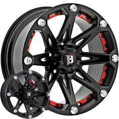 BALLISTIC® - 814 JESTER Flat Black with Red Inserts. The wheel can be ordered in diameters. Choose your rim width, offset, bolt pattern and hub diameter from the option list. E91 Touring, Volkswagen, Off Road Wheels, Rims For Cars, Rims For Trucks, Chevy Trucks, Wheel And Tire Packages, Aftermarket Wheels, Truck Wheels