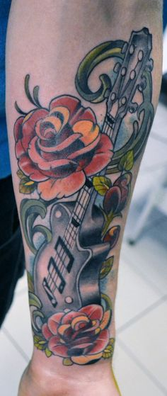guitar roses by mojoncio.deviantart.com on @deviantART