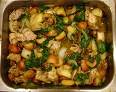 Only one pan to wash with this wonderful casserole type dish which combines potatoes, rosemary, onions and garlic with quartered boneless chicken thighs and fresh spinach.