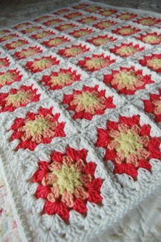 Yellow, Peach and Coral Granny Square Baby Afghan - Baby Shower Gift - Sweet and Sunny
