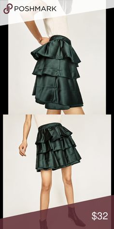 Sale!!! green frilled skirt brand new with tags Brand new skirt with adorable flirty frills.  Ew with tags Zara Skirts Mini