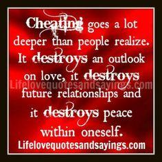 Cheating.  Yeah ya fucks! Quit cheating and lying!!!!!!!! Its no wonder I'm a cynical bitch and trust no man.