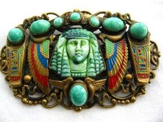 VINTAGE EGYPTIAN REVIVAL BROOCH ENAMEL & CZECH GLASS ART DECO 1930'S TUTANKHAMEN.  Probably by Max Neiger.