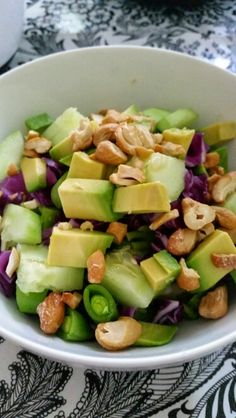 My favorite salad - quinoa,  purple cabbage,  cucumbers,  avocado and cashews. Filling and great texture.
