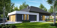 Find home projects from professionals for ideas & inspiration. Projekt domu HomeKONCEPT 27 by HomeKONCEPT House Outside Design, House Front Design, Roof Design, Modern House Design, Layouts Casa, House Layouts, Modern Bungalow Exterior, Building Foundation, Beautiful House Plans