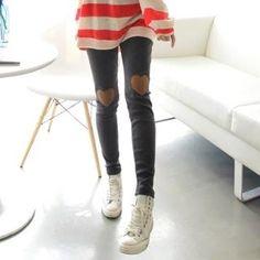 Heart Knee-Patch Leggings