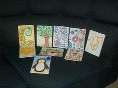 Cartões em canson e giz de cera