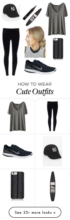 """Super affordable Outfit "" by onnie45hottie on Polyvore featuring NIKE, Savannah Hayes, American Needle and Maybelline"