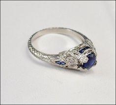 Antique Art Deco Ring Platinum Diamond Engagement Ring Sapphire Fine Jewelry Vintage 1920s Art Deco Jewelry