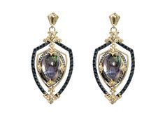 Midnight open shield earring with Mother of Pearl/Rose of France pear doublet and black and white diamonds.