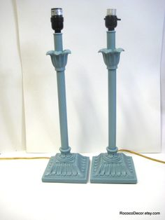 Upcycled French Blue Lamps: Pair of tall lamps french blue french country chic lamps robbins egg blue lamps. $75.00, via Etsy.