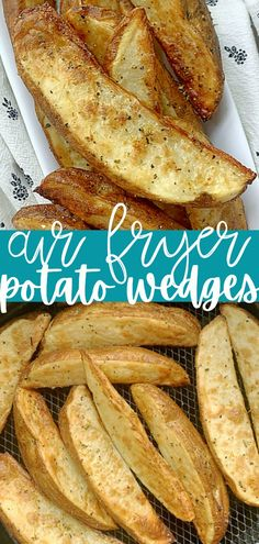 Flavored with lemon and oregano, these Air Fryer Potato Wedges are a quick and simple to make side dish that is healthy and delicious too. #airfryerrecipes #potatowedgesairfryer