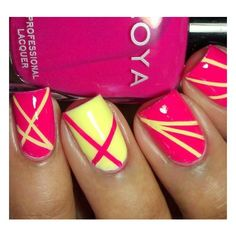 Nail Inspirations / pink/yellow lines ❤ liked on Polyvore