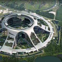 ArtStation - Xandar city - circular building, Gaelle Seguillon - This building design makes me think of the ISU. Architecture Design, Green Architecture, Futuristic Architecture, Amazing Architecture, Chinese Architecture, Futuristic City, Futuristic Design, Sci Fi Stadt, Circular Buildings