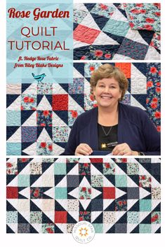 Check out this fun quilt tutorial with Jenny from Missouri Star Quilt Co. where she shows you how to make with beautiful Rose Garden quilt using the Hedge Rose collection from Riley Blake Designs! Msqc Tutorials, Quilting Tutorials, Quilting Projects, Quilting Tips, Charm Pack Quilts, Charm Quilt, Missouri Quilt Tutorials, Charm Square Quilt, Patchwork Quilt Patterns