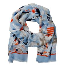 Moomin Midsummer light blue scarf by Lasessor - The Official Moomin Shop Moomin Shop, Moomin Valley, Beautiful Lights, Pattern Design, Light Blue, Colours, How To Wear, Shopping, Clothes
