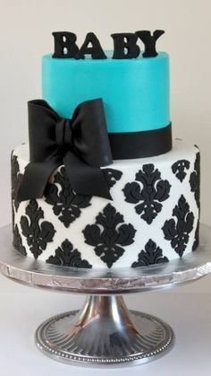 Turquoise and Black Shower cake with an Ornate Hand Cut Design ~ All edible