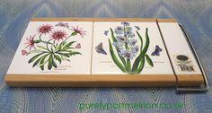 Portmeirion Botanic Garden Tiled Cheese Board And Cutter