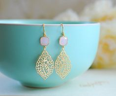 Pink Glass Gold Paisley Filigree Dangle Earrings Gold by LeChaim