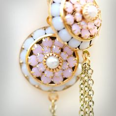 """Pink White and Gold Art Deco Jewelry Earrings for Bridemaids Brides Weddings Proms, """"Careless Whisper"""". $42.00, via Etsy."""