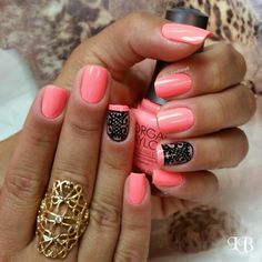 Pink mani with lacy black accent nail.