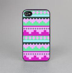 The Lime Green & Purple Tribal Ethic Geometric Pattern Skin-Sert for the Apple iPhone 4-4s Skin-Sert Case