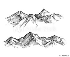Find Hand Drawn Vector Illustration Mountains Outdoor stock images in HD and millions of other royalty-free stock photos, illustrations and vectors in the Shutterstock collection. Berg Illustration, Mountain Illustration, Mountain Sketch, Mountain Drawing, Easy Drawings, Pencil Drawings, Line Drawing, Painting & Drawing, Montain Tattoo