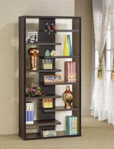 Amazon Display Bookcase Contemporary Style In Cappuccino Finish Furniture Amp Decor