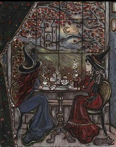 This is a high quality professional printed print of an original illustration. It comes titled and signed by the artist in the back. Two witch friends sit together to turn over cards and sip magically enhanced tea to better read each others fortunes. Art And Illustration, Fantasy Kunst, Fantasy Art, Witch Art, Witch Painting, Painting Art, Witch Aesthetic, Halloween Art, Halloween Makeup
