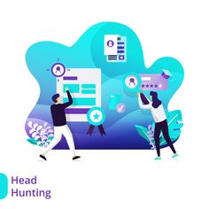 Landing Page Headhunting Vector Illustration Concept Web Design, Staff Training, Vector Photo, Vector Format, Flat Illustration, Mobile App, Landing, Banner, Concept