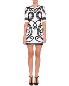 B2V0R Dolce & Gabbana Short Scroll-Embroidered Dress, White/Black