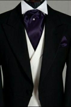 Black wedding suit with purple cravat(white waistcoat) The Gold Wedding Planner iPhone App ♥ White Tuxedo Wedding, Black Suit Wedding, Wedding Suits, Wedding Attire, Trendy Wedding, Gold Wedding, Wedding Ideas, Wedding Tuxedos, Mens Attire