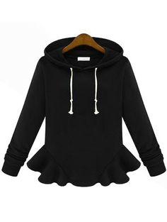 To find out about the Black Hooded Long Sleeve Ruffle Sweatshirt at SHEIN, part of our latest Sweatshirts ready to shop online today! Sweatshirts Online, Hoodies, Cool Style, My Style, Fall Winter Outfits, Passion For Fashion, Fashion Outfits, Women's Fashion, School Fashion