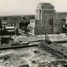 This photo, dated Aug. 9, 1931, depicts the progress being made on #Montreal's Central Station. Construction in the area began in the mid-1920s and continued until the #train station's opening in 1943 when it was owned by Canadian National Railway (CNR). Le Queen Elizabeth Hotel was built around the station by CN and officially opened in 1958. #OldMontreal #Vintage