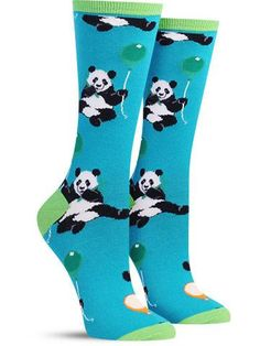 panda party funny novelty socks for women Silly Socks, Crazy Socks, My Socks, Cool Socks, High Socks, Cool Panda, Panda Party, Sock Shop, Sock Animals
