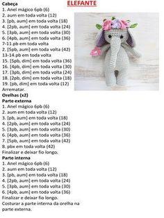 plus - Harry - pattern fashi. Crochet Elephant, Crochet Bunny, Cute Crochet, Crochet For Kids, Crochet Cape, Crochet Shawl, Crochet Animal Patterns, Crochet Patterns Amigurumi, Crochet Animals