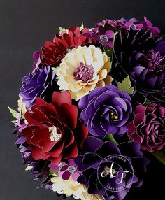 This listing is for a single CUSTOM designed Bridal Bouquet, diameter measurements varying based on final design. The flowers made with smooth, heavy cardstock that is acid free. **Please contact us for our color chart** These blooms will last a lifetime, freezing a moment in time