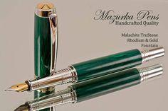 Handmade Fountain Pen made from Malachite TruStone Rhodium and Gold Finish