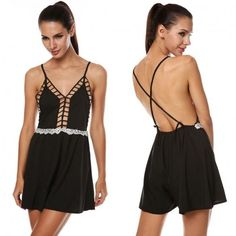 Ladies Women Sexy V-Neck Strap Backless Lace Patchwork Hollow Out Loose Short Jumpsuit
