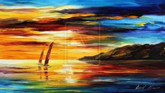 Sailing with the sun by Leonid Afremov by Leonidafremov on DeviantArt Oil Painting On Canvas, Watercolor Paintings, Fantasy Landscape, Moonlight, Landscape Paintings, Illustrators, Sailing, Deviantart, Fine Art