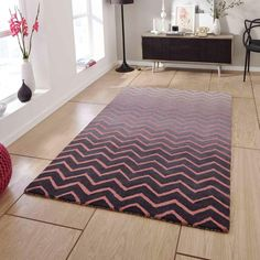 Spectrum Grey Pink Handmade Wool Rug By Think Rugs Grey Chevron Rugs, Striped Rug, Color Stripes, Stripes Design, Mat Online, Contemporary Style, Modern, Wool Rug, Animal Print Rug