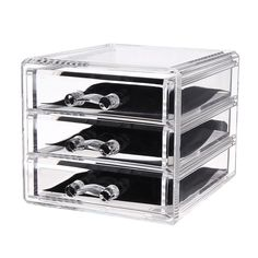 Elegant Transparent Acrylic Jewelry Storage Box Stand with 3
