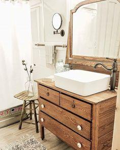 Dresser turned into sink vanity