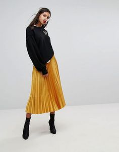 Discover the latest fashion & trends in menswear & womenswear at ASOS. Shop our collection of clothes, accessories, beauty & Yellow Skirt Outfits, Yellow Pleated Skirt, Pleated Skirt Outfit, Winter Skirt Outfit, Pleated Skirts, Satin Skirt, Denim Skirt, Mango, Latest Fashion Clothes