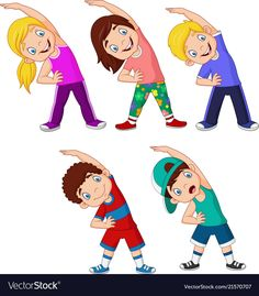 Vector illustration of Cartoon little kids exercising on white background. Math For Kids, Yoga For Kids, Exercise For Kids, Cartoon Sketches, Cartoon Pics, Body Parts Preschool, Physical Education Lessons, Kids Background, Vector Background