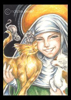 St Gertrude And Cats by natamon {Natalie Ewert} on deviantART ~ mixed media