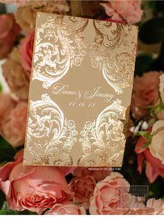 Our Muse - Romantic Rose Gold Wedding - Be inspired by Dana & Jimmy's romantic rose gold wedding at the Pierre in NYC - wedding, rose gold, invitation, program, foil stamping, velvet, pewter, silver, cream, ivory, letterpress printing, custom envelope liner, monogram, ceremony program