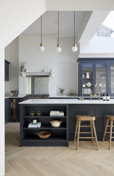 Beautiful large kitchen diner extension in London with bespoke oak herringbone floor, large steel windows and a bespoke kitchen by Naked. Interior design by Hannah Gooch Studio. Photography by Anna Stathaki. Home Decor Kitchen, Kitchen Furniture, Kitchen Interior, New Kitchen, Kitchen Ideas, Furniture Stores, Furniture Ideas, Furniture Market, Furniture Removal