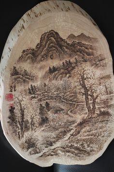 pyrography mountain scene